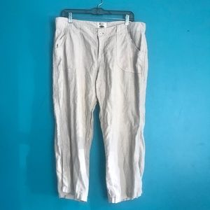 Old Nsvy oatmeal 100% Linen Pants